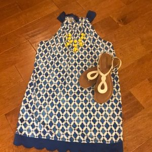Mudpie size large high neck blue dress